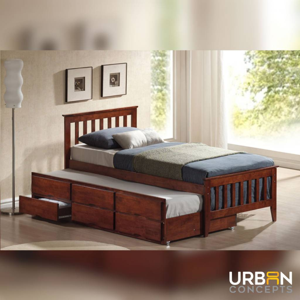 bed with compartments