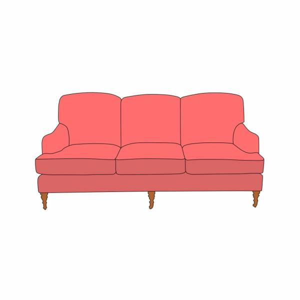 An Example Of A 3 Seater English Roll Arms Sofa. Settee