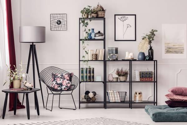 basket in a shelves