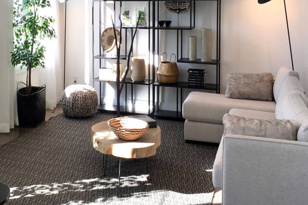 off-white, taupe and smokey black furniture
