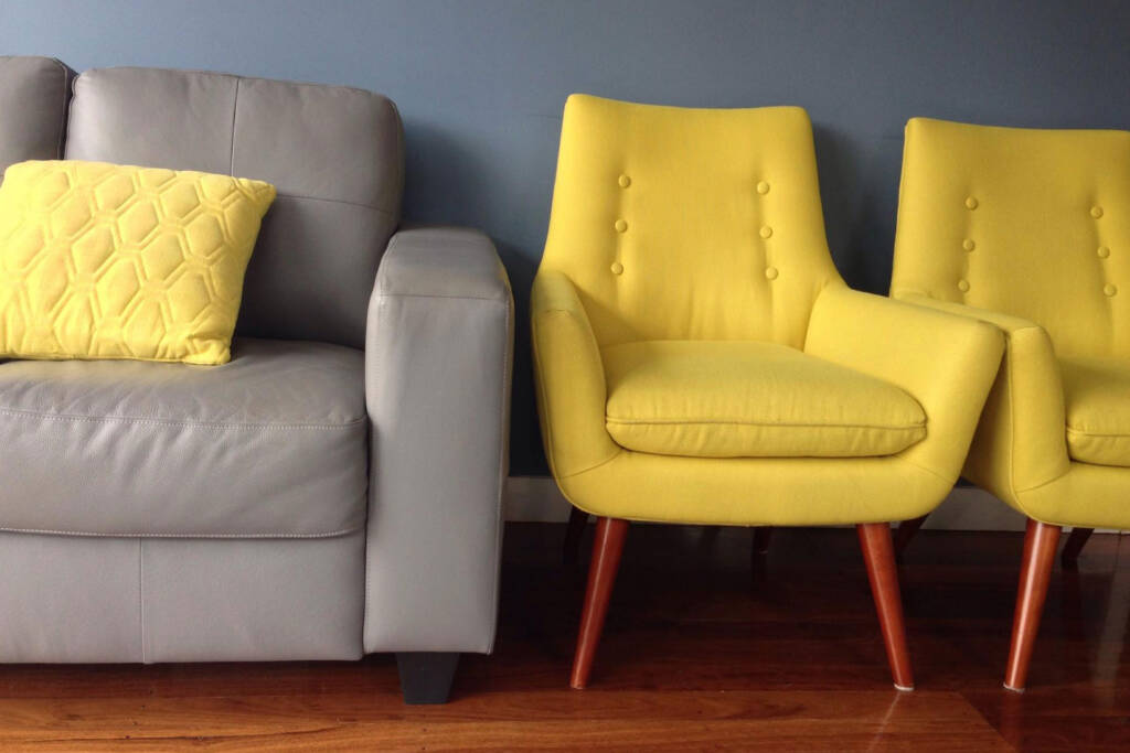 yellow and gray furniture