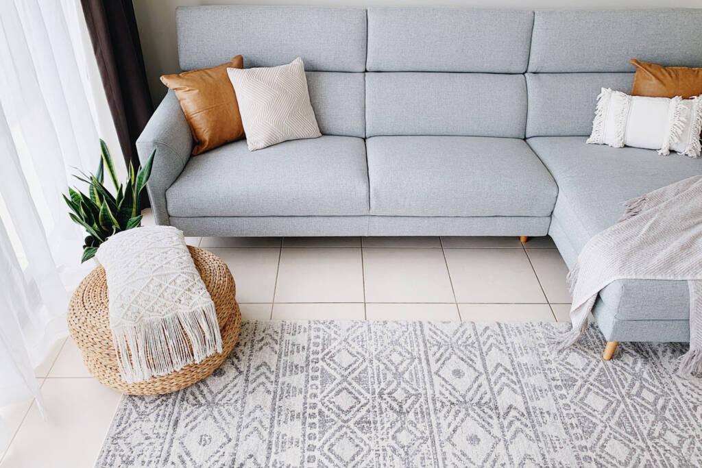 contemporary boho style living room